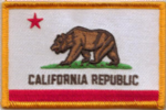 California Embroidered Flag Patch, style 08.
